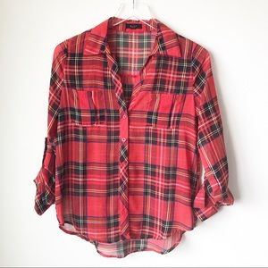 Mine | Sheer red plaid button up top